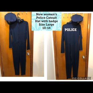 New Navy Blue Women's Police catsuit